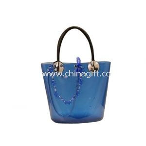 Candy Blue Tote Bag Beads Accessories Silicone Handble Embossed Logo