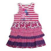 Girls fashion cotton peppa pig clothes short sleeves dress with falbala images