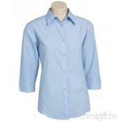 Ladies 3/4 Sleeve Micro Check Shirt images