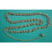 Metal gold waist chain with black and white beads images
