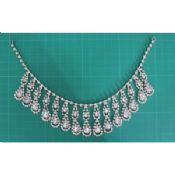 Silver and clear Women Handmade Rhinestone Alloy necklace for girls dress images