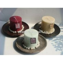 Round Wood Lavender pillar candle holders images