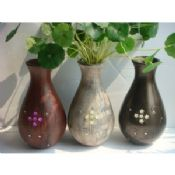 Colourful wood decorative vase for dried flower images