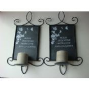 Square Black Iron Wall Sconce Candle Holders With Pillar Candle images