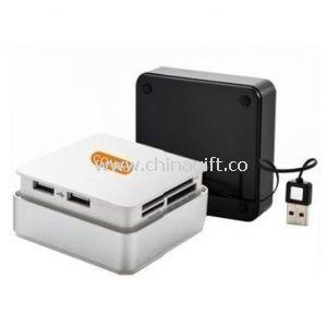 Retractable USB Card Reader with 3-Port USB HUB