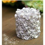 Silver rose pillar wedding candle images