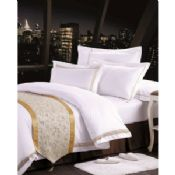 100% Cotton Polyester Textile Luxury Hotel Bed Linen / white bed linen images