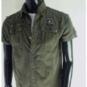 Casual Army Green Mens Cargo Shirt images