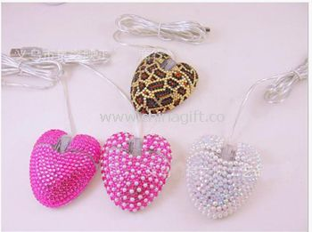 Heart mouse with rhinestone