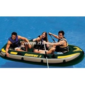 Comfortable 0.75mm PVC 3 Person Inflatable Boat Set Up With Oars