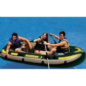 Comfortable 0.75mm PVC 3 Person Inflatable Boat Set Up With Oars images