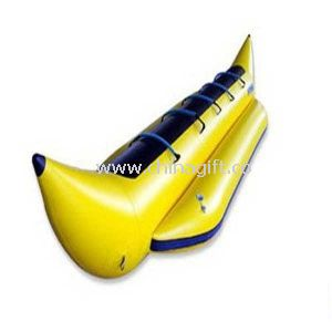 Yellow PVC Inflatable Banana Boat With 2 Oars