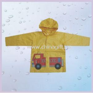 "Yellow Cartoon Printed Rain Wear For Children 20"""