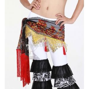 Delicated Embroidered Belly Dance Hip Scarves With Flowers In Practice
