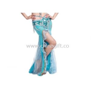 Ladies Crystal Cotton Belly Dancer Skirt With Shining Hot Drilling In Light Blue