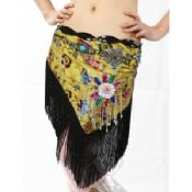Classical Satin mesh Tassel Belly Dancing Hip Scarf with lattern shaped palps images