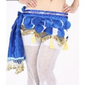 Cute Sweet Royal Blue Belly Dance Hip Scarf with Round Leaves Paillette / Gold Coins images