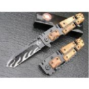 Stainless steel color wood handle dual blade knife images