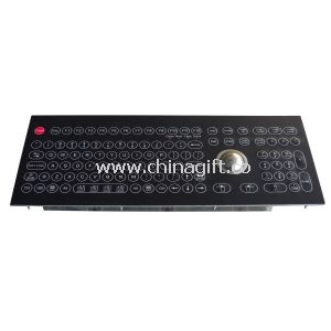Black color Optical Trackball Industrial Membrane Keyboard with trackball