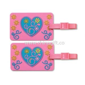 Eco-Friendly Silicone Luggage Tag With Heart Pattern