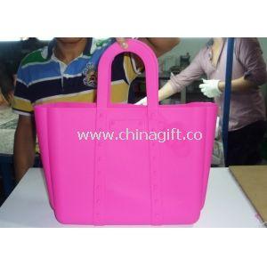 Pink Skull Top Handle Silicone Handbag Shopping Tote