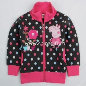 Beautiful peppa pig and flowers embroidery baby girl new hoody jacket