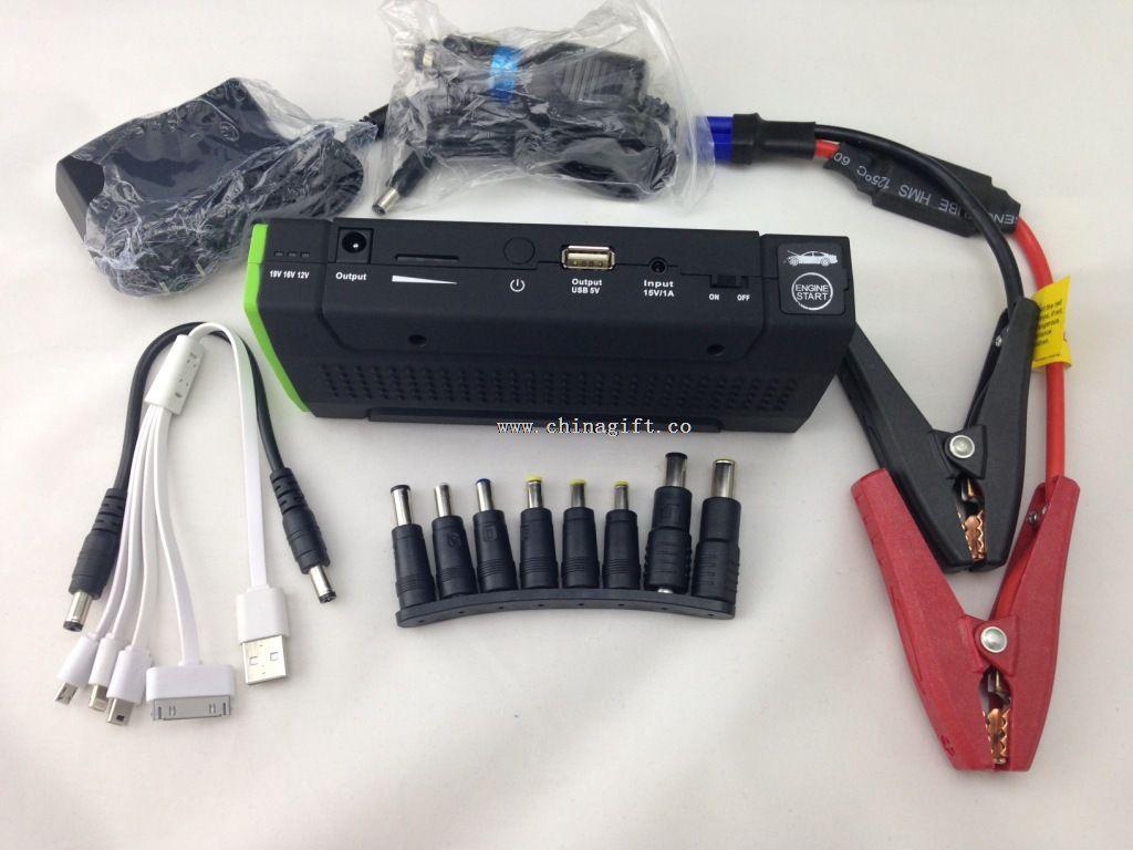 13800mAh bil Jumper magt Bank 12V hoppe startbatteriet med tre førte advarselslamper