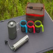 Outdoor portable flute camping coffee bean grinder set images