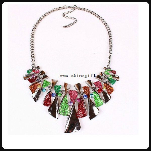 Colorful Enamel Bow Rhinestone Bib Graduated Lavaliere Chain Necklace