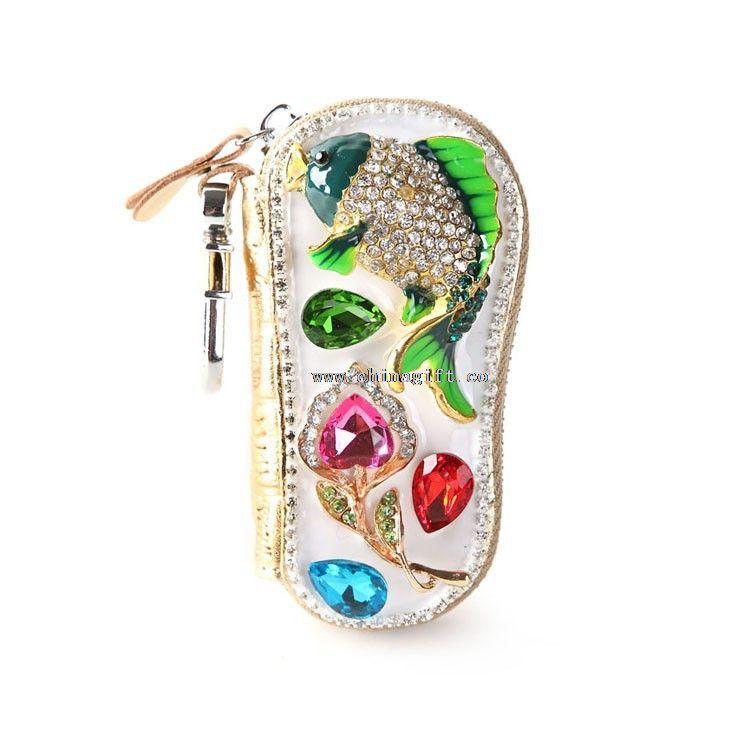 Crystal genuine leather key wallet leather car key holder key Case