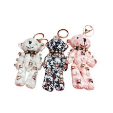 Bear plush toy keychain women gift punk crystal key ring manufacturer for handbag images
