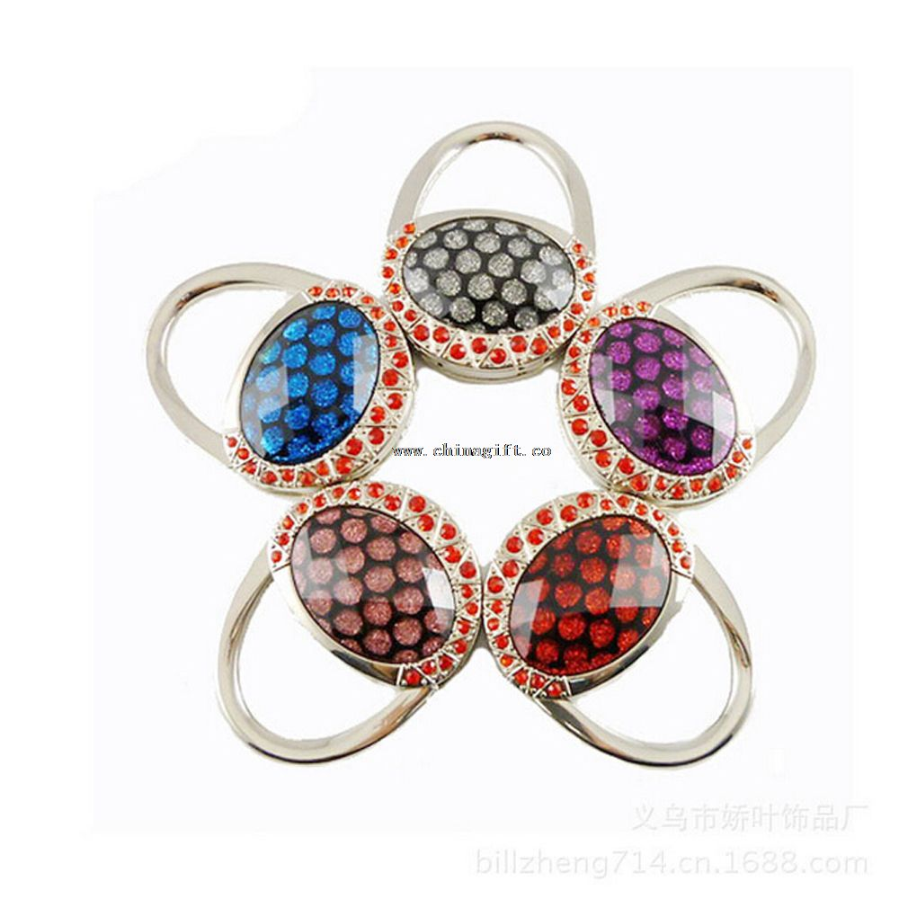 Fashion metal colorful foldable table top bag hanger hook