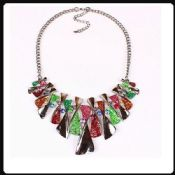 Colorful Enamel Bow Rhinestone Bib Graduated Lavaliere Chain Necklace images