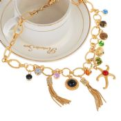 Fashion luxury golden chain colored diamond woman necklace images