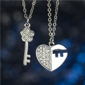 Key heart pendant Chain necklace,pendant necklace with floating locket for girl images