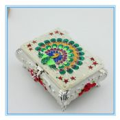 Peacock Enamel cloisonne design metal jewelry box with inlay images