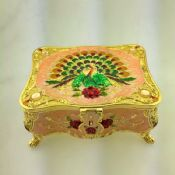 Peacock Handmade Enamel Metal Jewelries Storage Box images