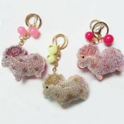 Personalized Jeweled rhinestone keychains cheap rhinestone keychain rhinestone sheep shape images