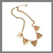 Triangle gemstone necklace gold plated chain pendant images