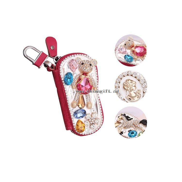 Luxury mini rhinestones pocket key holder wallet car key case