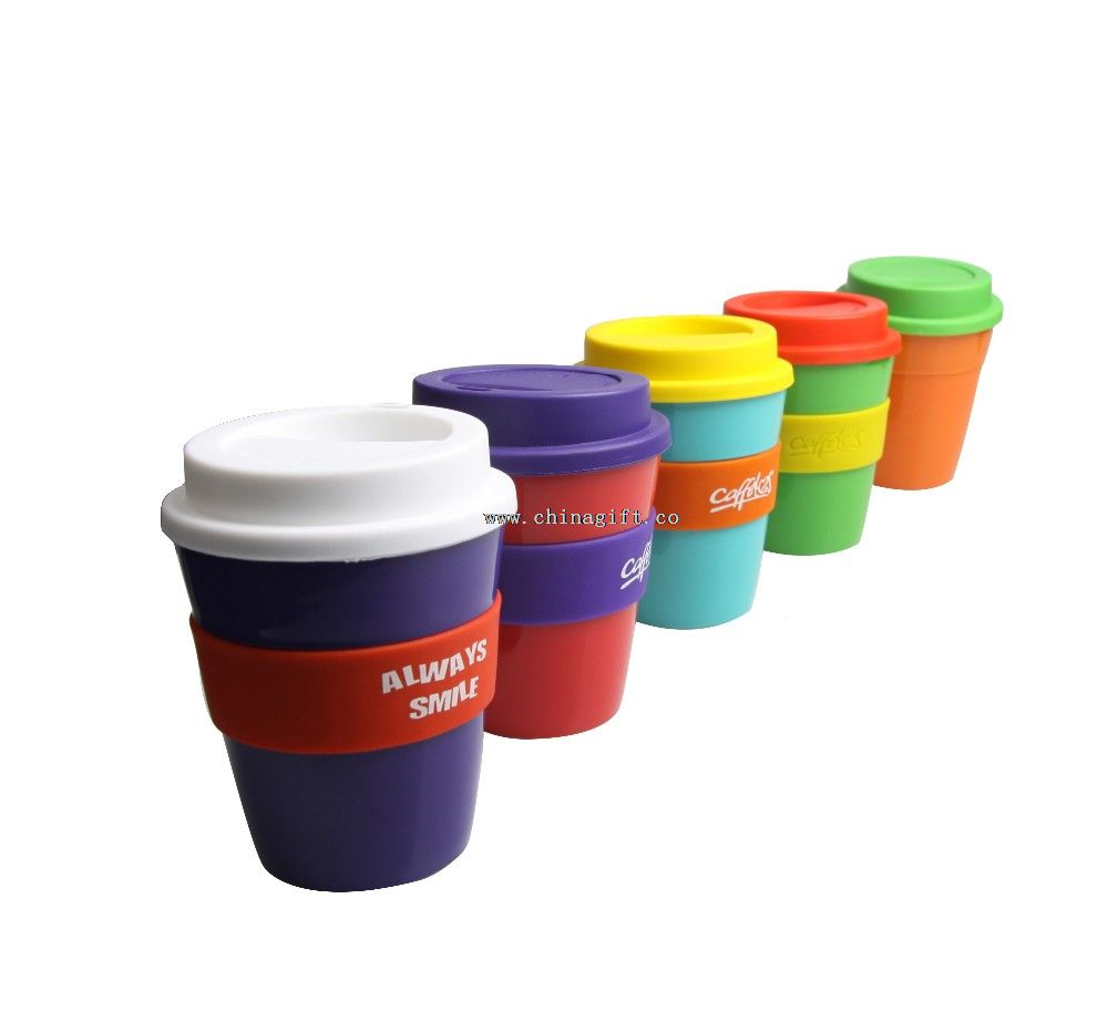 BPA free pp plastic coffee cup with lid