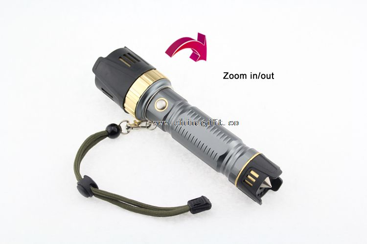 Led Rubber Focus System Flashlight with Emergency Hammer