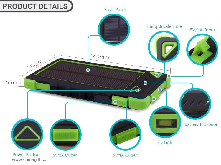8000mah water-proof solar charger