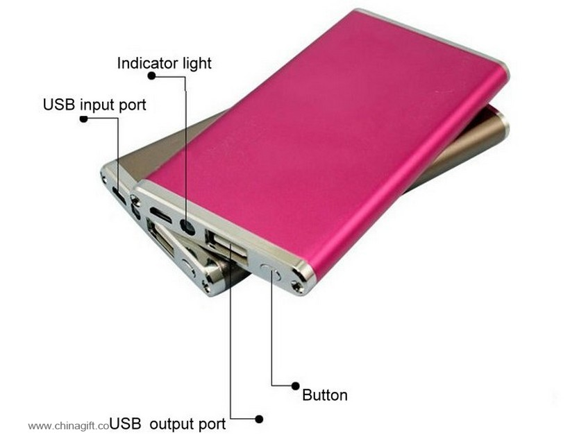 slim multi color 8000mah mobile power bank