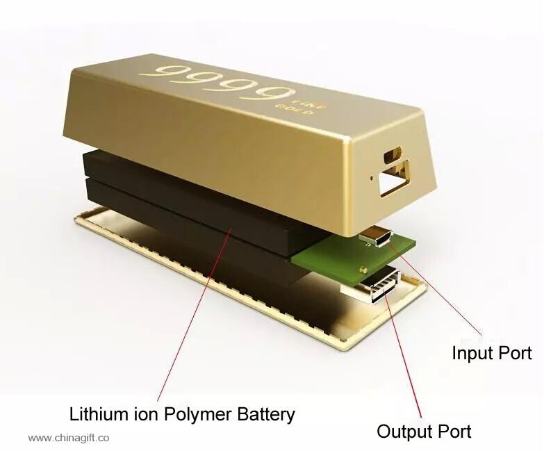 gold bar shape Power Battery powerbank