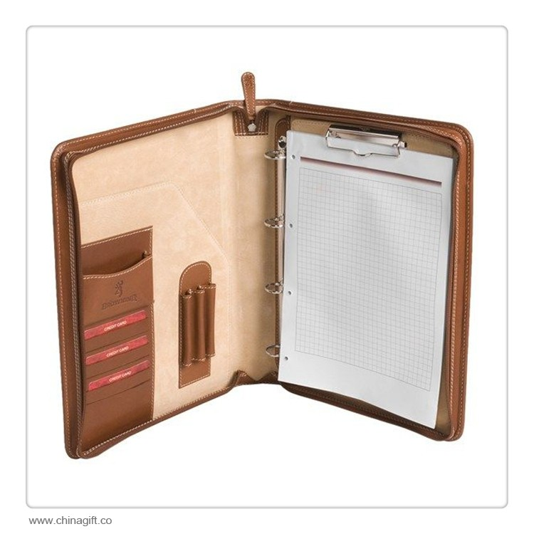 Leather Portfolio Binder with 4 Rings