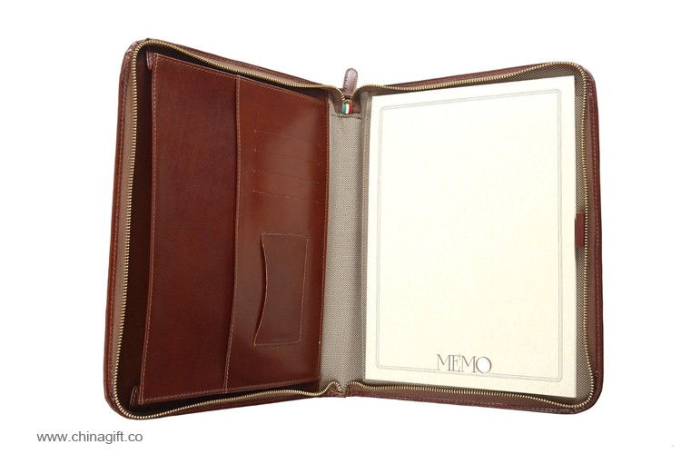 A4 Zippered Leather Portfolio Case