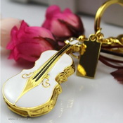violin shape 8gb metal usb drives with keychain images